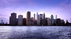 Stock Video Footage of New York City Downtown Skyline