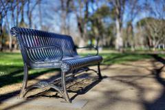 Park bench narrow dof hdr Stock Photos