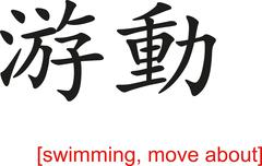 Chinese Sign for swimming, move about - stock illustration