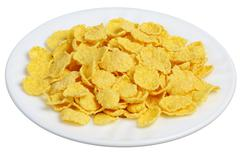 Cornflakes in a white plate Stock Photos