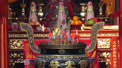 Incense being burnt in a Chinese temple. Stock Footage