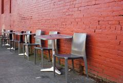 sidewalk seating - stock photo