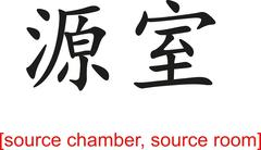 Chinese Sign for source chamber, source room - stock illustration