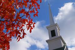 red leaves church steeple - stock photo