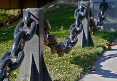 anchor chain railing left - stock photo