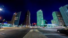 potsdammer platz wide angle traffic night time lapse, Berlin, Germany 4k - stock footage