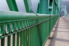 railing perspective st. johns bridge - stock photo