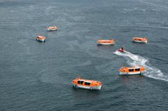 lifeboats - stock photo