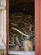 axe and woodpile - stock photo