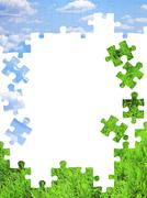 Stock Photo of Nature concept - 3d puzzles