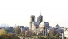 Famous Notre Dame Cathedral Zoom Out Shot - Paris, France Stock Footage