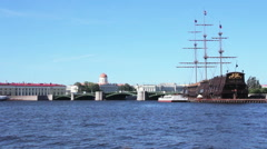 Sailing frigate on the quay Stock Footage