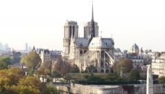 Notre Dame Cathedral Panning Shot of the Paris, France Stock Footage