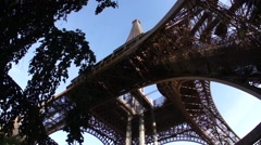 Eiffel Tower, Paris France - From the Ground Looking Up - stock footage