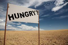Hungry signboard - stock photo