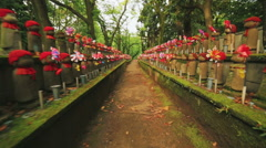 Hundreds of Japanese Buddhist statues (Ojizo) at Tokyo's Zojoji temple Stock Footage