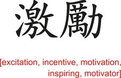 Chinese Sign for excitation, incentive, motivation, inspiring - stock illustration