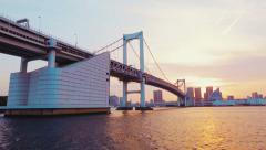 Tokyo's famous Rainbow Bridge taken from a boat Stock Footage