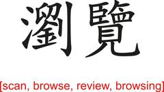 Stock Illustration of Chinese Sign for scan, browse, review, browsing
