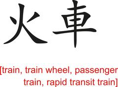 Chinese Sign for train,passenger train, rapid transit train - stock illustration