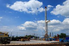 Land drilling rig in yard Stock Photos