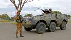 Soldiers and armored vehicle, training, Grosseto, filmed in 4K Stock Footage