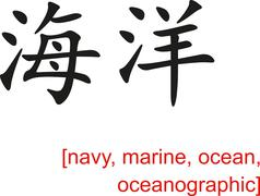 Stock Illustration of Chinese Sign for navy, marine, ocean, oceanographic
