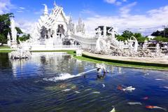 white temple after earthquake. - stock photo