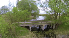 Old stone bridge. Aerial  nature  view Stock Footage