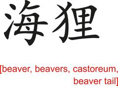 Chinese Sign for beaver, beavers, castoreum, beaver tail - stock illustration