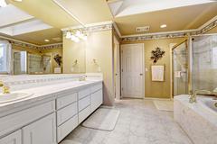 Spacious bathroom in luxury house Stock Photos