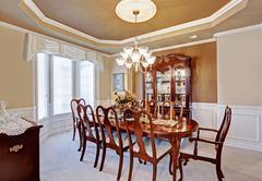 Dining room interior in luxury house Stock Photos