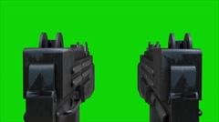 UZI guns shooting on a green screen Stock Footage