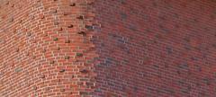 round brick corner horizontal - stock photo