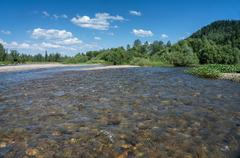 the mountain river with rapid current - stock photo