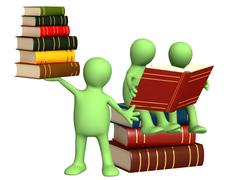 Puppets with books - stock photo