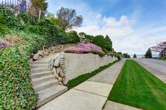 house entrance stairs. walkway and driveway view - stock photo