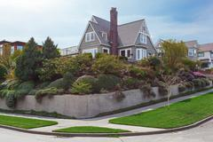 house exterior with beautiful curb appeal - stock photo