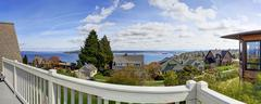 walkout deck view. panoramic picture - stock photo