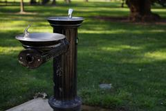 dual black drinking fountain - stock photo