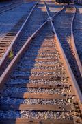 railroad track fork - stock photo