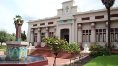 Egyptian Museum Artistic Building with Trees Blurry Background - stock footage