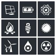 energy icons set - stock illustration