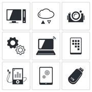 exchange of information technology icons set - stock illustration