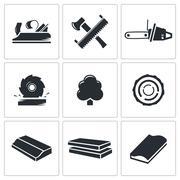 woodworking icons set - stock illustration