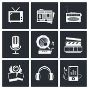 Media icon set - video, news, music, tv, recording, photo Stock Illustration