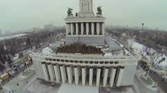 Main pavilion in All-Russian Exhibition Centre Stock Footage