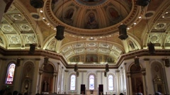 Inside Cathedral Church Artistic Ceiling and Wall Stock Footage