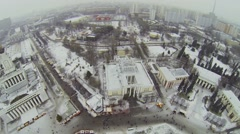 Panorama of All-Russian Exhibition Centre with pavilions Stock Footage