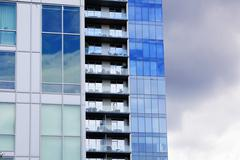 Three staggered high rise buildings Stock Photos